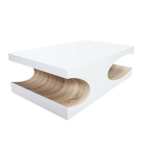 Edler Couchtisch CUBE 120cm Hochglanz weiß Holztisch Wohnzimmertisch Tisch Sonoma Eiche