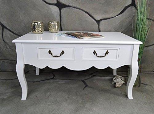 Livitat® Couchtisch Wohnzimmertisch 90 x 50 cm Landhaus Vintage barock Weiß LV4058