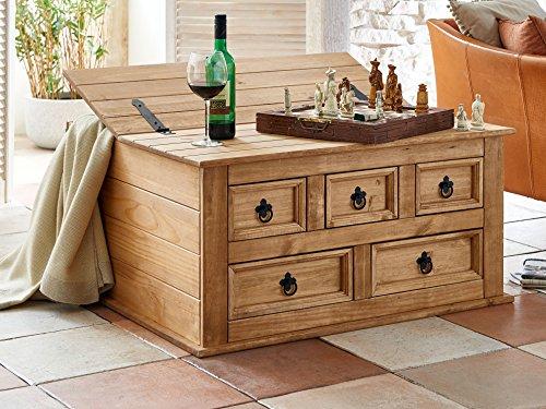 SAM® Truhen-Tisch aus Kiefernholz, Mexico-Möbel, Couchtisch mit 5 Schubfächern & Einem Stauraum, Gewachst, Schwarze Metallgriffe, ca. 92 x 87 cm [521551]