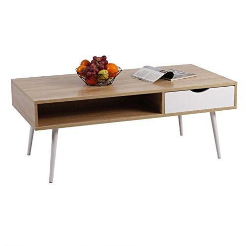 WOLTU Beistelltisch TSG16hei Kaffeetisch Couchtisch Sofatisch TV Lowboard, mit Schublade und Offenem Fach, Holz, Eiche, 120x60x47cm (BxTxH)