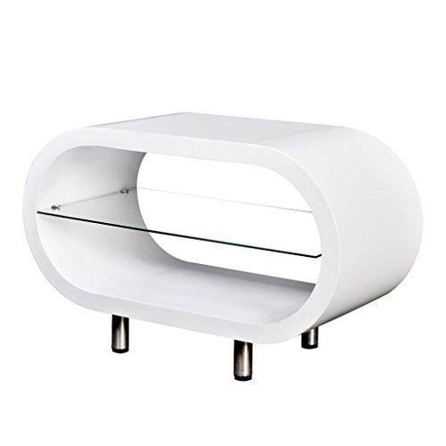 vidaXL Kaffeetisch Couchtisch Beistelltisch Tisch mit Glasablage Hochglanz Weiß