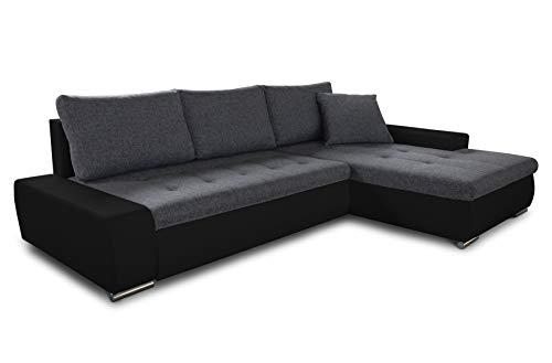 Ecksofa mit Schlaffunktion Aspen - Couch mit Bettkasten, Big Sofa, Sofagarnitur, Couchgarniitur, Polsterecke, Bett (Schwarz + Graphit (Madryt 1100 + Inari 94), Ecksofa Rechts)
