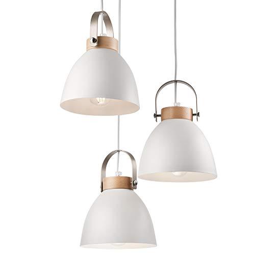 JVS Pendel-Leuchte Decken-Leuchte aus Metall E27 Hänge-Leuchte Vintage Industrieleuchte Wohnzimmerlampe Modern Wohnzimmer mit Kabel Vintagelampe für Wohnzimmer/Küche/Büro/Praxis (Weiss, 3-flammig)