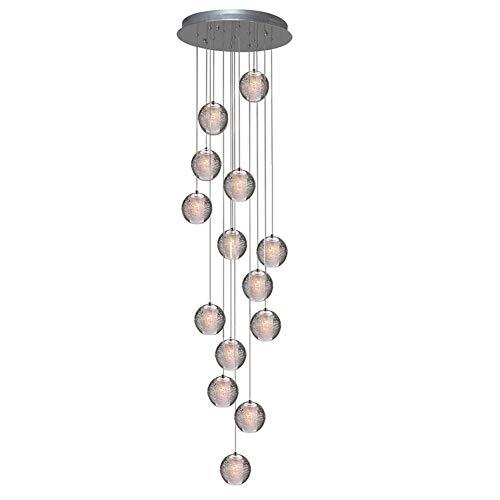 KJLARS Pendelleuchte LED Moderne Pendellampe Kristall Hängeleuchte Höheverstellbar Kronleuchter geeignet für Wohzimmer Esstisch, Treppe, Schlafzimmer Deckenleuchte Hängelampe (14 Lights)