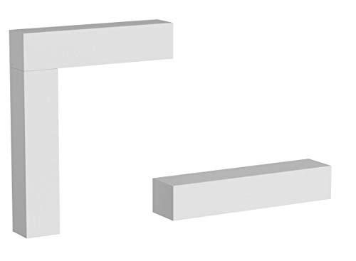 Vladon Wohnwand Anbauwand Taurito, Korpus in Weiß matt/Fronten in Weiß Hochglanz